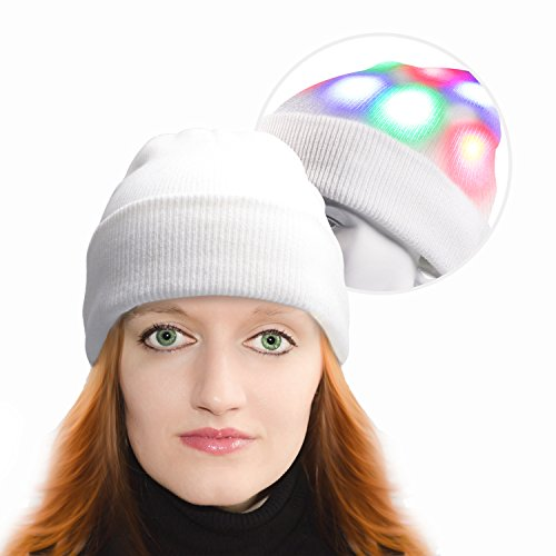 Lighted Ball Top - Light Up Hat, Unisex 7 LED Knitted White Flashing Beanie Hat/Cap Costume for Party Lightshow Jogging Walking Bicycling Gifts Sporting Ball Games (White)