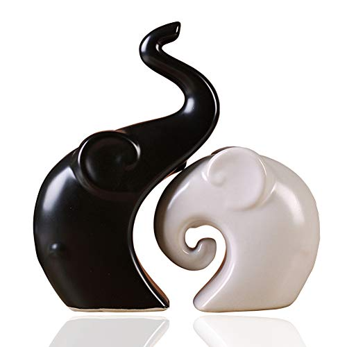 Guo's Pair of Elephant Lovers Family Figurines Home Decor Statues Decorative Sculpture Ceramic Matte Black White (Elephant Set B) by Guo's