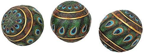 8 cm Set of Three Vollfarbe Design Toscano Pfauenfederkugeln Dekorative Akzentkugeln