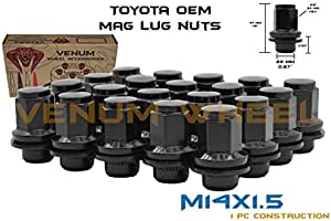 Venum wheel accessories 20 Pc Black Mag Lug Nuts OEM Black Factory M14x1.5 Works with Toyota & Lexus Tundra Sequioa Land Cruiser LX 470 LX 570