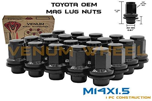 Venum wheel accessories 20 Pc OEM Factory Mag Black Lug Nuts M14x1.5 Replacements Works with 2007-2018 Toyota Sequoia 5x150 Bolt Pattern