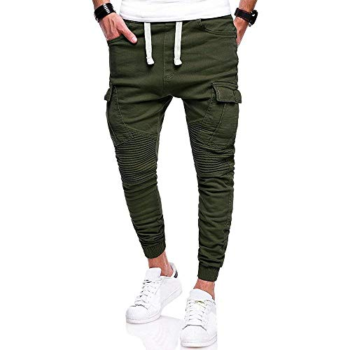Mode Unita Media Tinta Coulisse grün Marca Di Armee Tasche A Vita Con In Jogging Pantaloni Leggings Da Bolawoo Casual Uomo qwvzvY