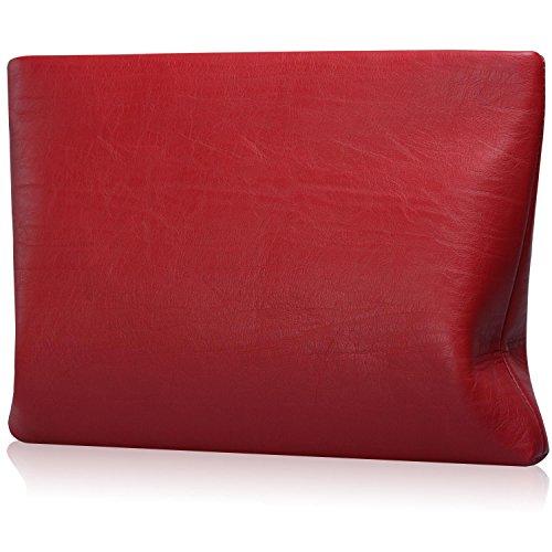 JZOEOEU Women Clutch Bag Leather Lady Envelope Evening Clutch Bag Wallets Zipper Wine red