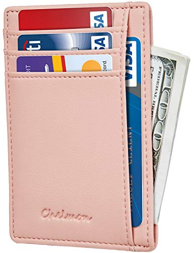 Chelmon Slim Wallet RFID Front Pocket Wallet Minimalist Secure Thin Credit Card Holder (GeNapa Pink) Bag Credit Card Wallet Holder