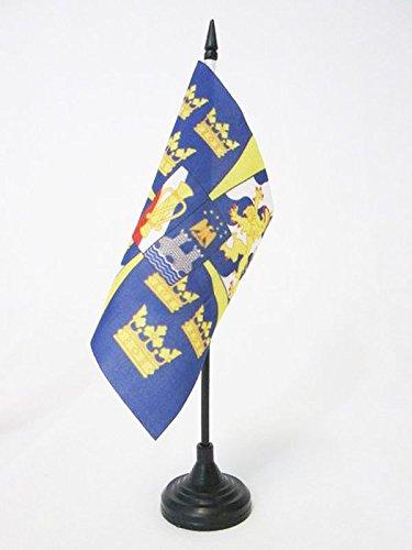 AZ FLAG BANDIERA DA TAVOLO STANDARDO REALE DELLA SVEZIA 15x15cm - PICCOLA BANDIERINA DEL REGNO SVEDESE 15 x 15 cm