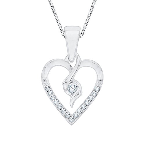(KATARINA Diamond Heart Pendant Necklace in 10K White Gold (1/10 cttw G-H, I2-I3))