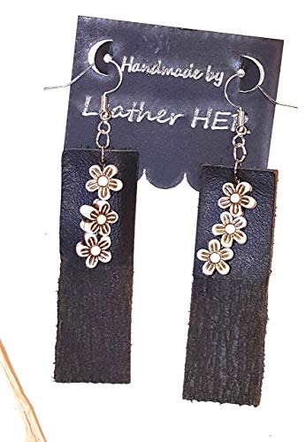 Tree Bark Earrings -100% Genuine Leather Design w/Floral beading - (Black w/Darkest brown - Beading Floral