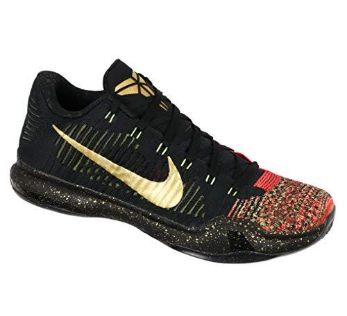 NIKE Kobe X Elite Low Xmas 802560-076 Black/Gold/Crimson Men's Basketball Shoes (Size 10.5) (9 Kobe Christmas)
