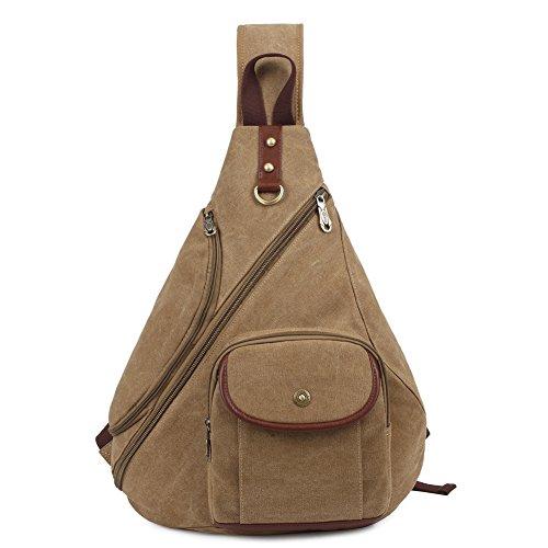 para Bag lona mensajero bolsa Vendimia Bolso Hombres hombro de mujer Caquifu34 en Portatil de Casual KAUKKO pwpCq6f8