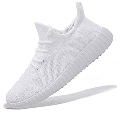 Unisex Breathable Athletic Sport Shoes Cross Trainers Fashion Sneakers for Walking Running Gym Pure White US Women Size 8/ US Men Size 7 by fereshte