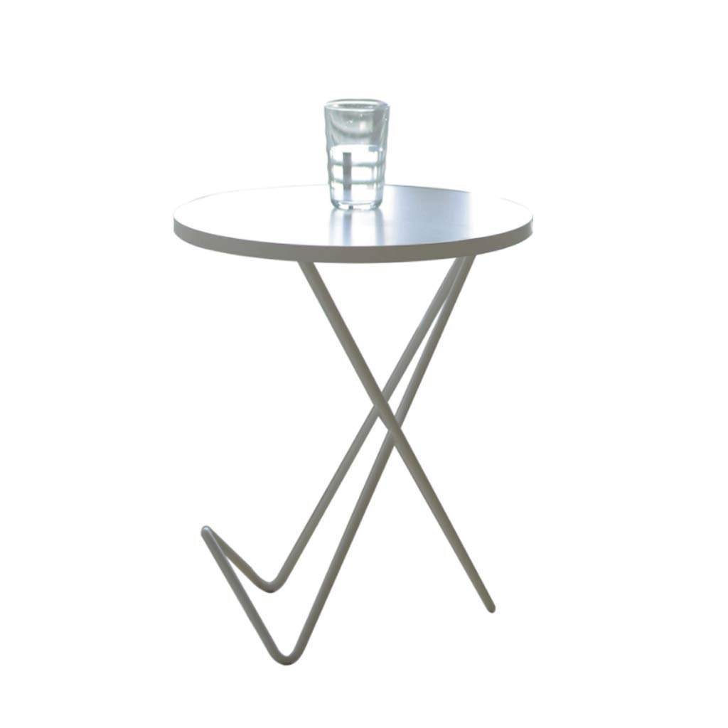 Round Coffee Table Side Portable Small Tea White Wood and Wrought Iron Shelf Living Room Bedroom Terrace by Small table