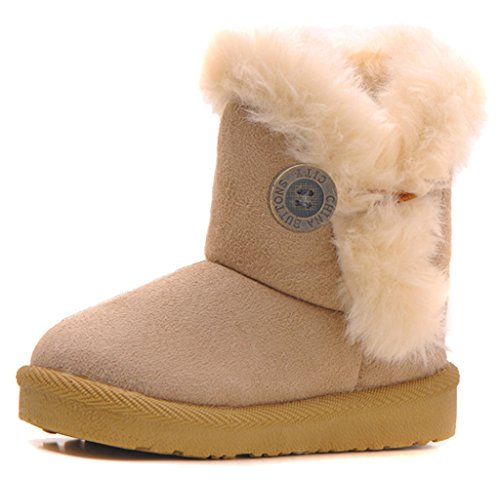 IOO Baby Girls Boys Plush-filled Bailey Button Snow Boots Warm Winter Flat Shoes Beige 32
