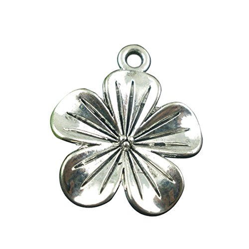 Housweety Silver Flower Pendants Findings