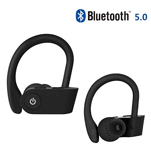 Bluetooth Headphones IPX5 Waterproof, Wireless Sport Earphones, HiFi Bass Stereo Sweatproof Earbuds W/Mic, Noise Cancelling Headset for Workout, Running, Gym, iPhone,Huawei, 8 Hours Play time