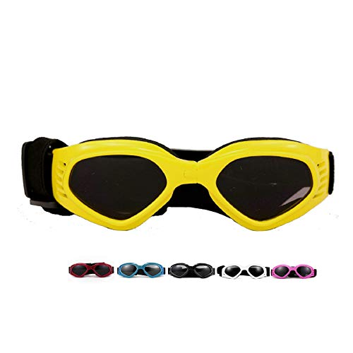 Vevins Dog Goggles Sunglasses UV Protective Foldable Pet Sunglasses Adjustable Waterproof Eyewear for Cat Dog (Yellow)