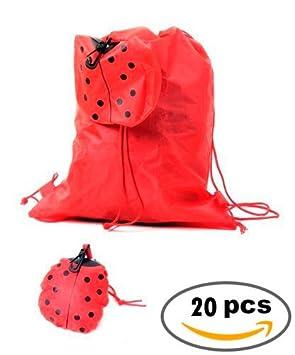 Lote de 20 Mochilas Plegable Animales Rojo Mariquita ...
