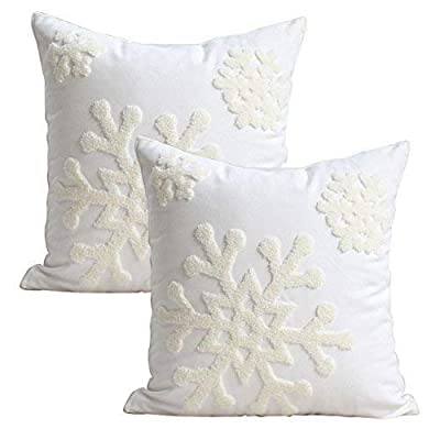 Elife 18x18 Soft Canvas Christmas Winter Snowflake Style Cotton Linen Embroidery Throw Pillows Covers w/Invisible Zipper for Bed Sofa Cushion Pillowcases for Kids Bedding