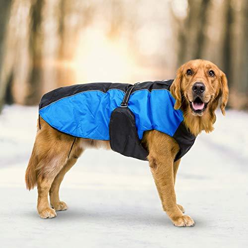 Sunshine K'lai Dog Coat Jacket for Large Dogs Waterproof Dog Clothes Reflective Pet Clothes for Golden Retriever German Shepherd (5XL, Blue) ()