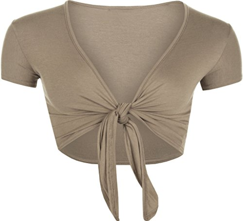 (RM Fashions Women Short Sleeve Bolero Cardigan Crop Top Tie up Shrug Cosplay Shirt (Small-Medium, Mocha))