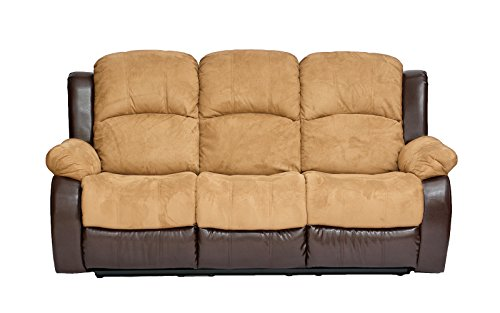 Classic and Traditional Brush Microfiber and Bonded Leather Recliner Sofa (Hazelnut)