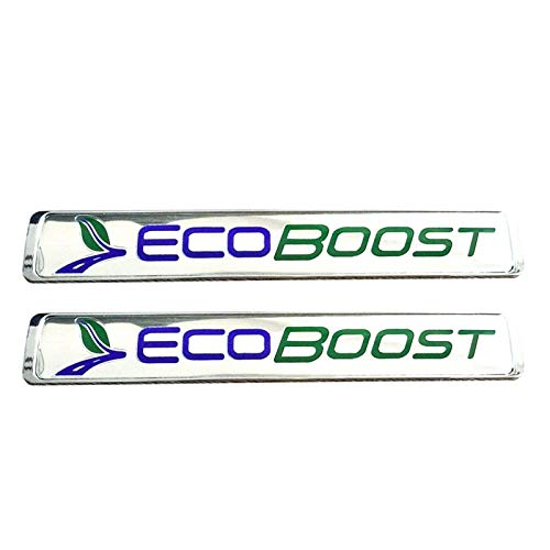 2x OEM ECOBOOST Badge Emblem 3D Nameplate Replacement for SUV F150 ECOBOOST Chrome 2011-2018 Origianl size Genuine ()