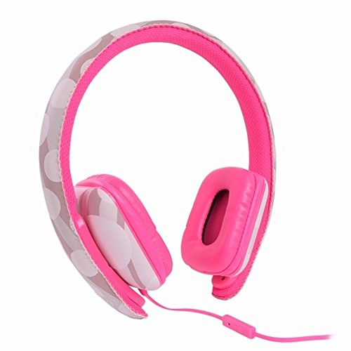 Ear Party Ch!c Buds Noise Cancelling Over-Ear Stereo Headphones w/Inline Mic Tangle-Free Flat Cable & 3.5mm Plug