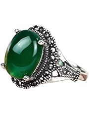 S925 Sterling silver ring fashion big green agate silver ring for women 7 US