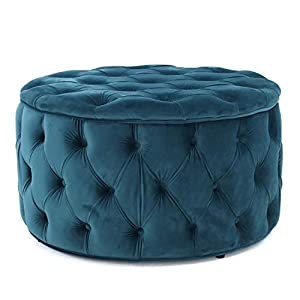 Great Deal Furniture Provence Teal Tufted New Velvet Ottoman (Round