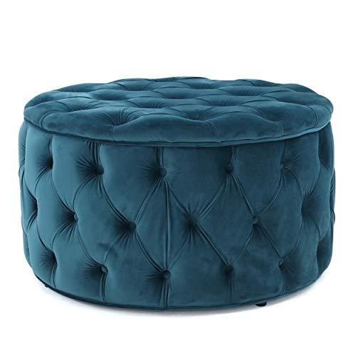 Round Storage Ottoman - Maelyn Teal Velvet Ottoman