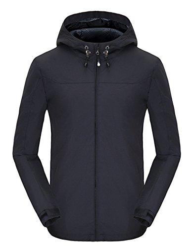 Spmor Women's Waterproof Lightweight Jacket Rain Coat Windproof Skin Hooded Jacket Black Small