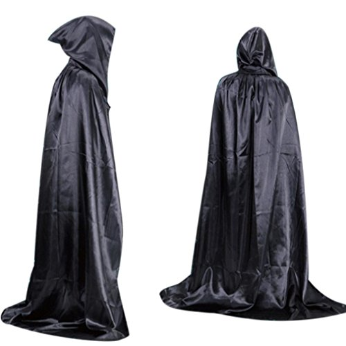 Hooded Cloak,Neartime Halloween Death Adult long Section Of Mopping The Floor Masquerade (Black)