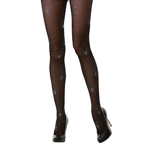 Spider Web Mid-Rise Sheer Black Halloween Adult Women's Cosplay Costume Tights (Spider Lady Costume Halloween)