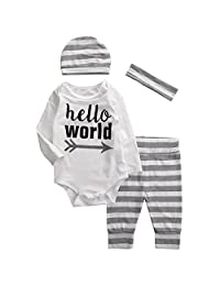 Baby Boys Girls hello world Long Sleeve Bodysuit and Striped Pants Outfit with Hat