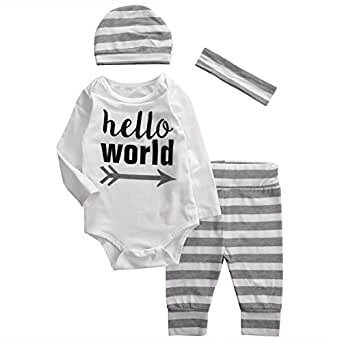 Baby Boys Girls hello world Long Sleeve Bodysuit and Striped Pants Outfit with Hat (70 (0-6M), White)