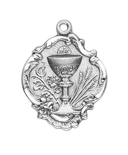 - HMHReligious Sterling Silver 3/4Inch Eucharist Chalice First Communion Gift Medal Pendant