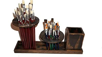 Bellafinesse Handcrafted Raw Artist Paint Brush Holder with 40 Paint Brushes