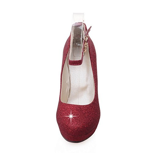 Toe Adee US Girls Red B Sequins M Pumps Round Glitter Shoes 5 qqBZwpU1R