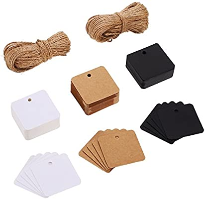 150 Pieces Square Paper Gift Crafts Tags Hang Labels with 50 Meters