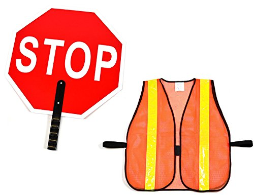 RK Aluminum Stop/Slow Paddle Sign with Safety Vest- Crossing Guard Set (18- Inch Stop Sign, Neon Orange Vest)