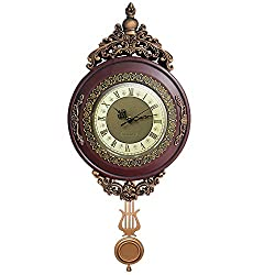 Giftgarden Vintage Wall Clock Non Ticking Silent Battery Operated Quartz Movement Pendulum, Retro Style for Office Kitchen Living Room Indoor Decorative Clocks