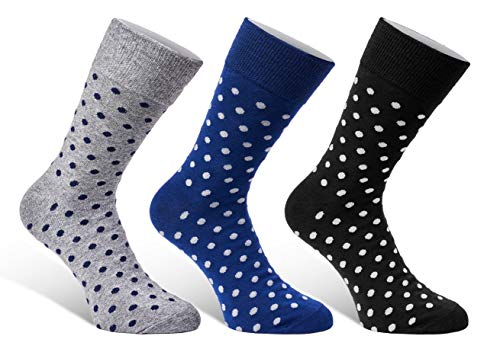 Colorful Mens Dress Socks - 3 Pack Set - Fun Patterns Polka Dot Gift Boxed - Size 7-12 from Puentes Denver