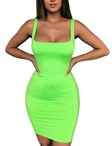 Mini Dress Cut - BORIFLORS Women's Casual Basic Tank Top Sexy Sleeveless Bodycon Mini Club Dress,Medium,Light Green