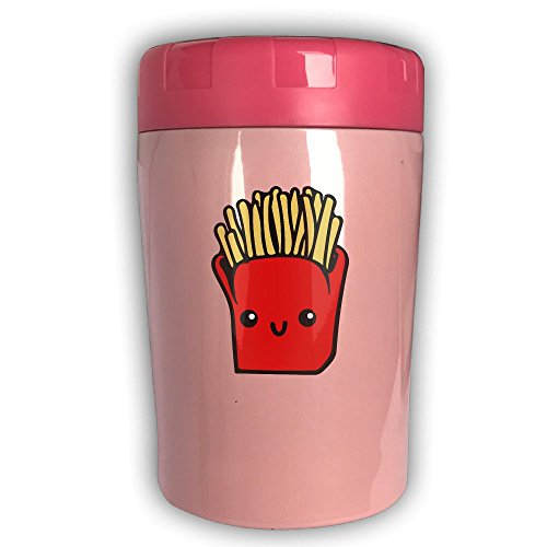 French Fries 17-ounce Lunch Crock Food Warmer, Stainless Steel Vacuum Lunch Box & Bento Box & Thermos - Leak Proof Soup Jar For Portable Convenience Pink