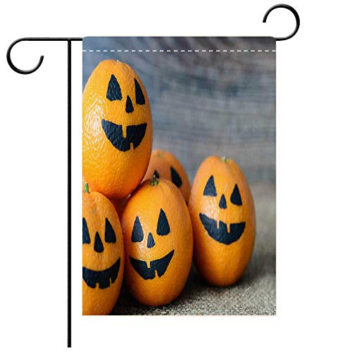 BEICICI Custom Personalized Garden Flag Outdoor Flag Painted Scary Faces on a Holiday of Halloween on Orange Decorative Deck, Patio, Porch, Balcony Backyard, Garden or Lawn