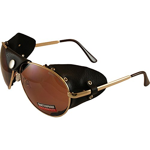 Global Vision Aviator 3 Motorcycle Sunglasses Gold Frames Driving Mirror Lenses