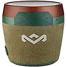 House of Marley, Chant Mini Bluetooth Portable Wireless Speaker, Splash Resistant IPX4, Full Range Sound, Integrated Mic for Use as Speaker Phone, Carabiner, Sustainably Crafted, EM-JA007-GR Green
