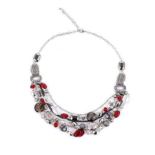 Bocar Newest Multi Layer Chain Crystal Colored Glaze Statement Women Necklace (NK-10061-red) ()