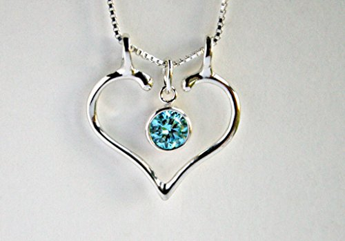 Ring Holder Necklace, Charm Holder, Aquamarine and Smooth Open Heart by Ali (Lady Executive Blue Gem)