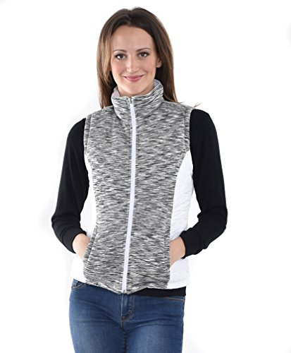Allora Women's Reversible Zip-up Puffer Vest with Inner Spacedye (XL, WHITE/GREY)