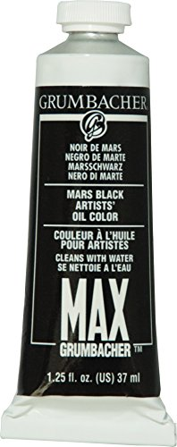 Grumbacher Max Water Miscible Oil Paint, 37ml/1.25 oz, Mars Black